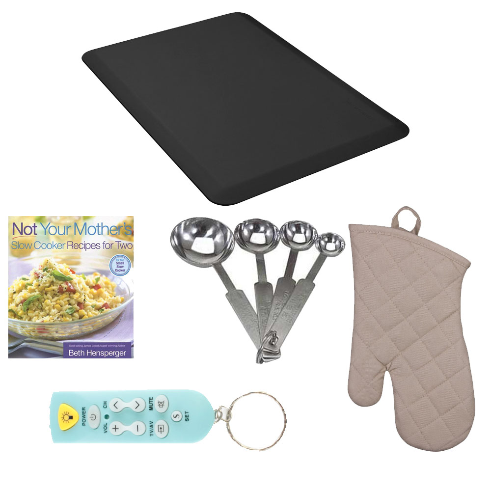 WellnessMats 3' x 2' Original Anti-Fatigue Floor Mat (Black) Kitchen Bundle