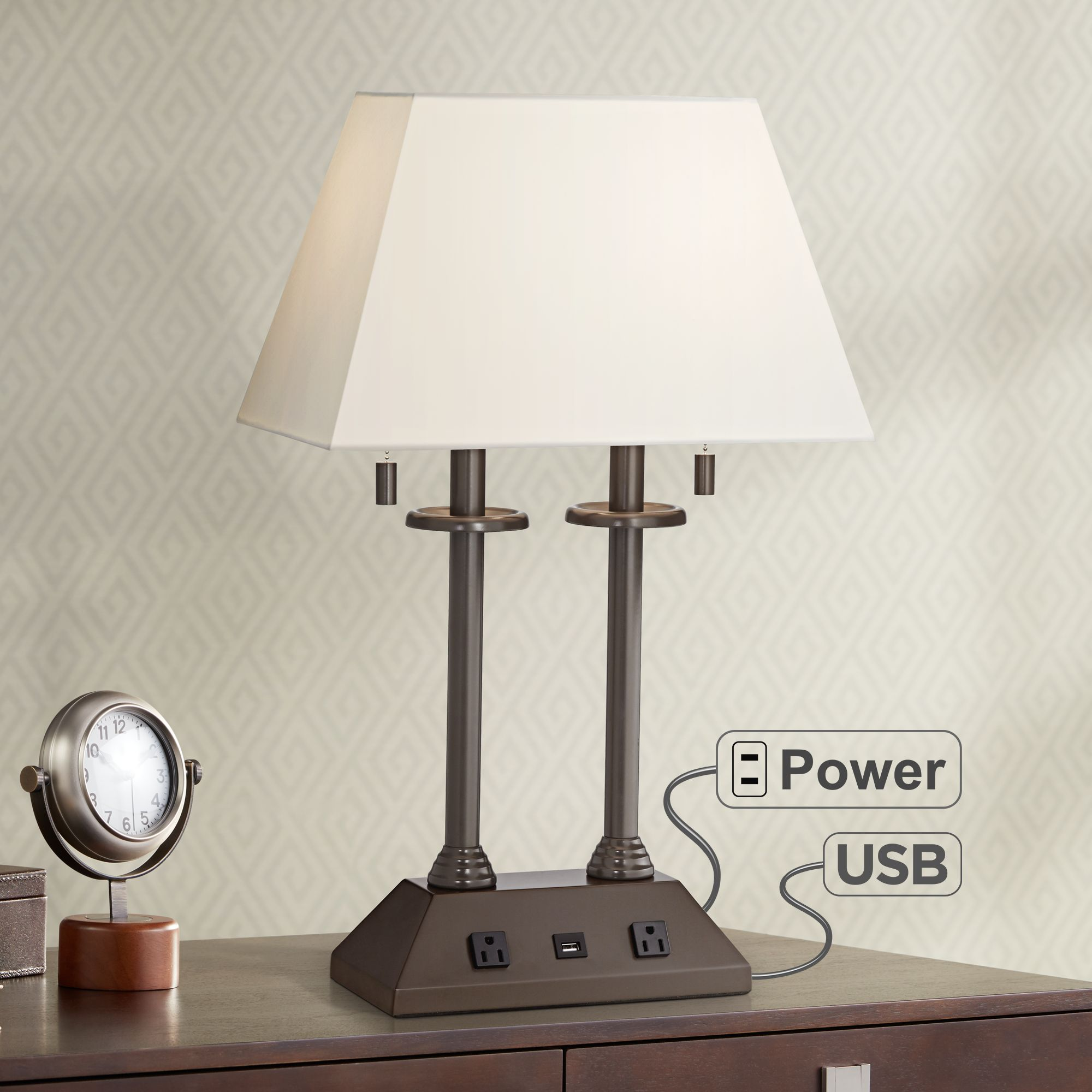 Regency Hill Traditional Desk Table Lamp with USB and AC Power Outlet in Base Bronze Rectangular Fabric Shade for Bedroom Office
