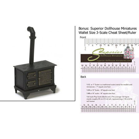 Dollhouse Miniature Scale Black Metal Stove w/3-Scale Wallet Ruler