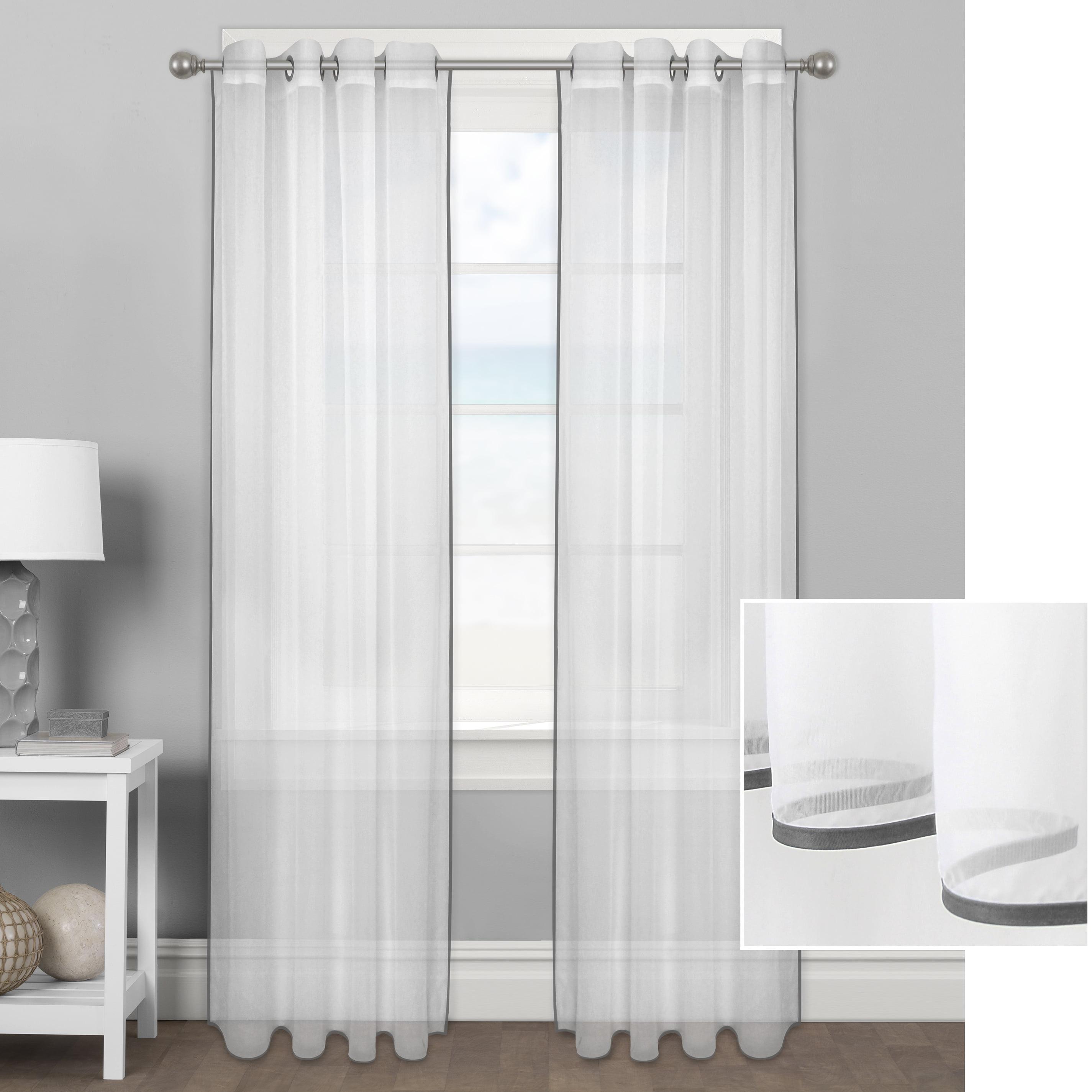 Better Homes & Gardens Ribbon Border Window Curtain Panel