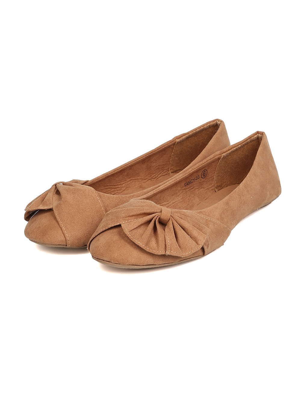 New Women Refresh Fancy-03 Faux Suede Ruched Bow Ballet Flat