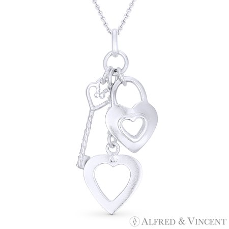 Heart, Lock, & Key Charm Pendant & Cable Chain Necklace in .925 Sterling Silver (Tiffany Heart Lock Pendant)