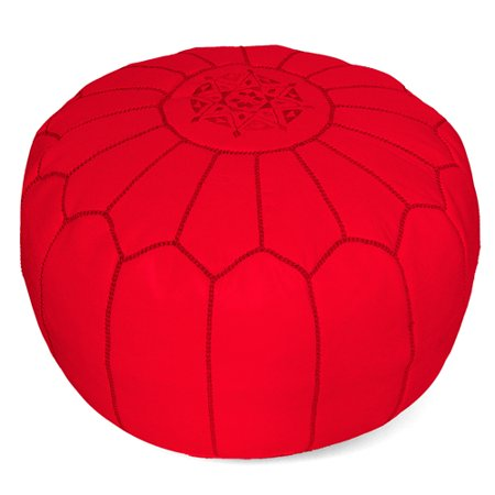 Admirable Ikram Design Stuffed Red Moroccan Leather Pouf Ottoman 20 Diameter And 13 Height Short Links Chair Design For Home Short Linksinfo