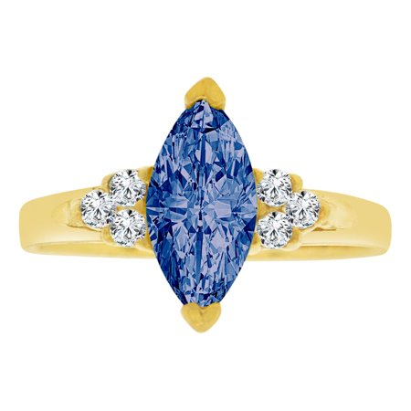 Simple Marquise - 14k Yellow Gold, Simple Classic Ring Created Color Marquise CZ Synthetic Sep Birthstones
