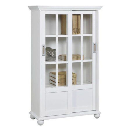 altra aaron lane bookcase with sliding glass doors white. Black Bedroom Furniture Sets. Home Design Ideas