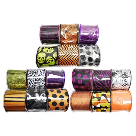 Set of 18 Halloween Wired Ribbon Rolls! 3 Yards of Ribbon Per Roll! Spooky Halloween Decorations Perfect for Classrooms, Schools, Parties and More!
