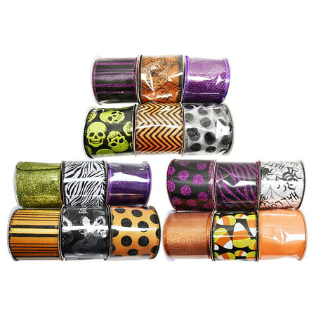 Set of 18 Halloween Wired Ribbon Rolls! 3 Yards of Ribbon Per Roll! Spooky Halloween Decorations Perfect for Classrooms, Schools, Parties and More! (Halloween Classroom Decorations)