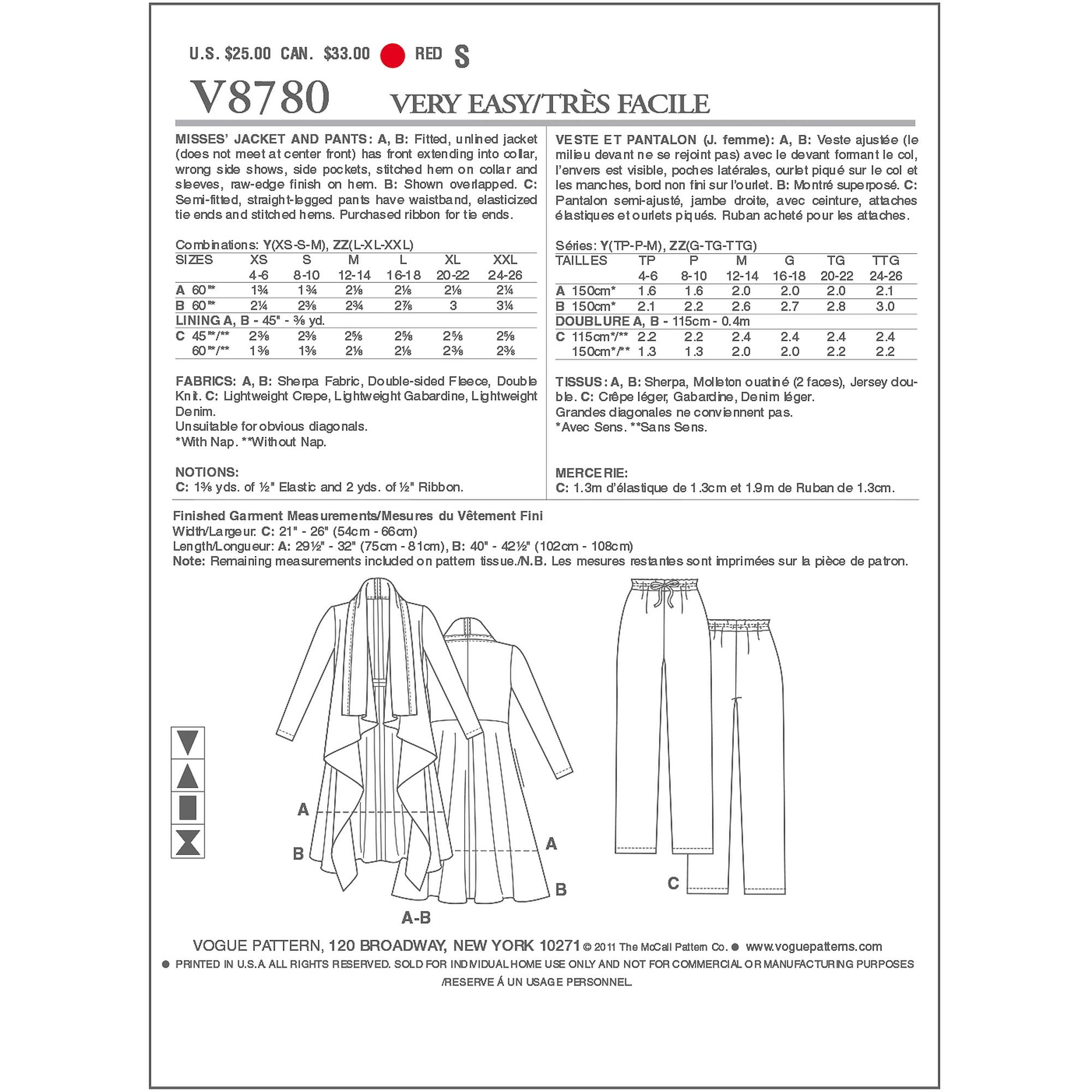 Vogue Pattern Misses' Jacket and Pants, Y (XS, S, M)