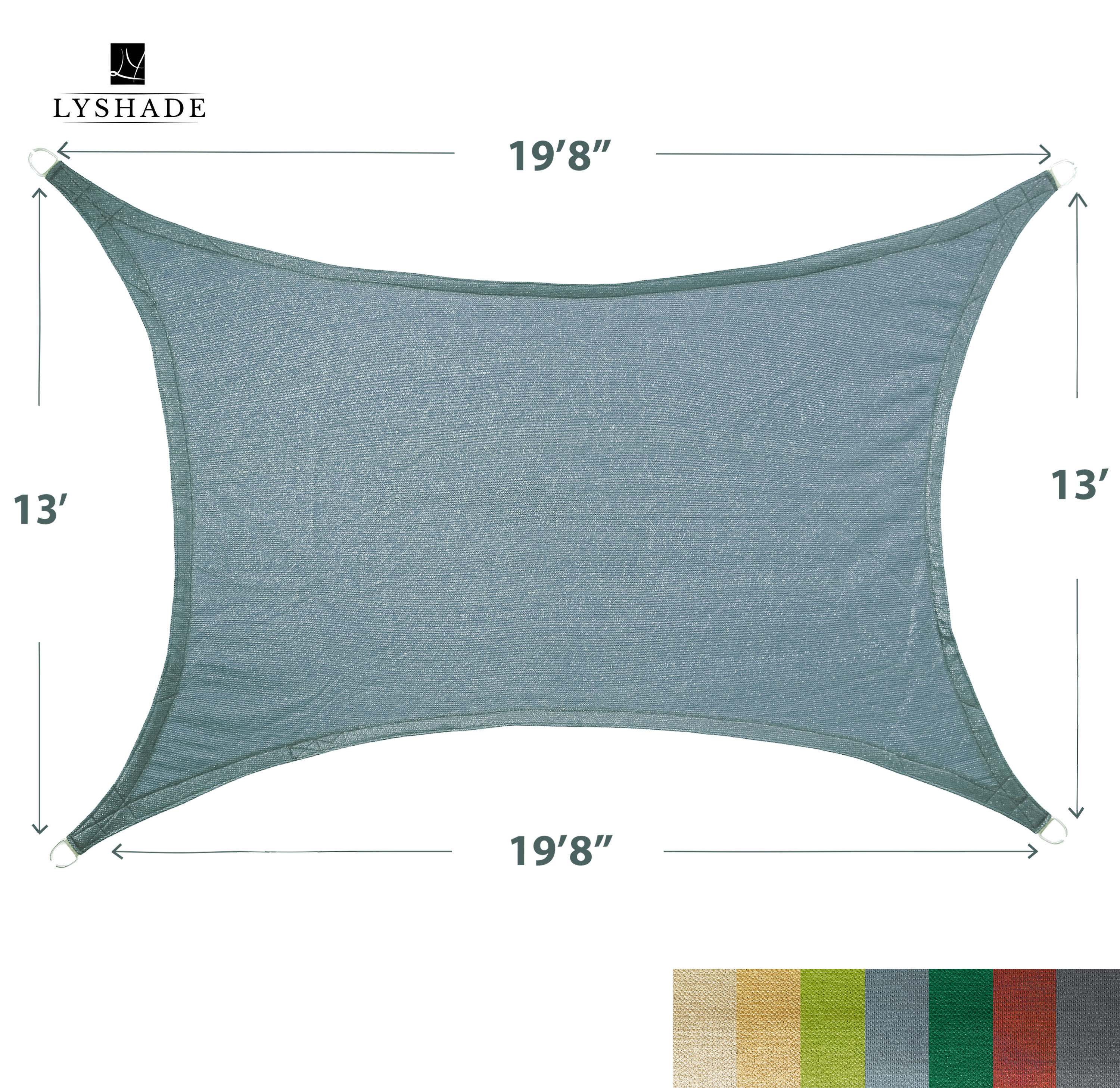 """LyShade 19'8"""" x 13' Rectangle Sun Shade Sail Canopy - UV Block for Patio and Outdoor"""
