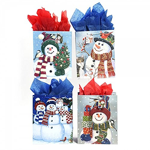 "Large ""Snowman Wishes"" Christmas Gift Bags by FLOMO"