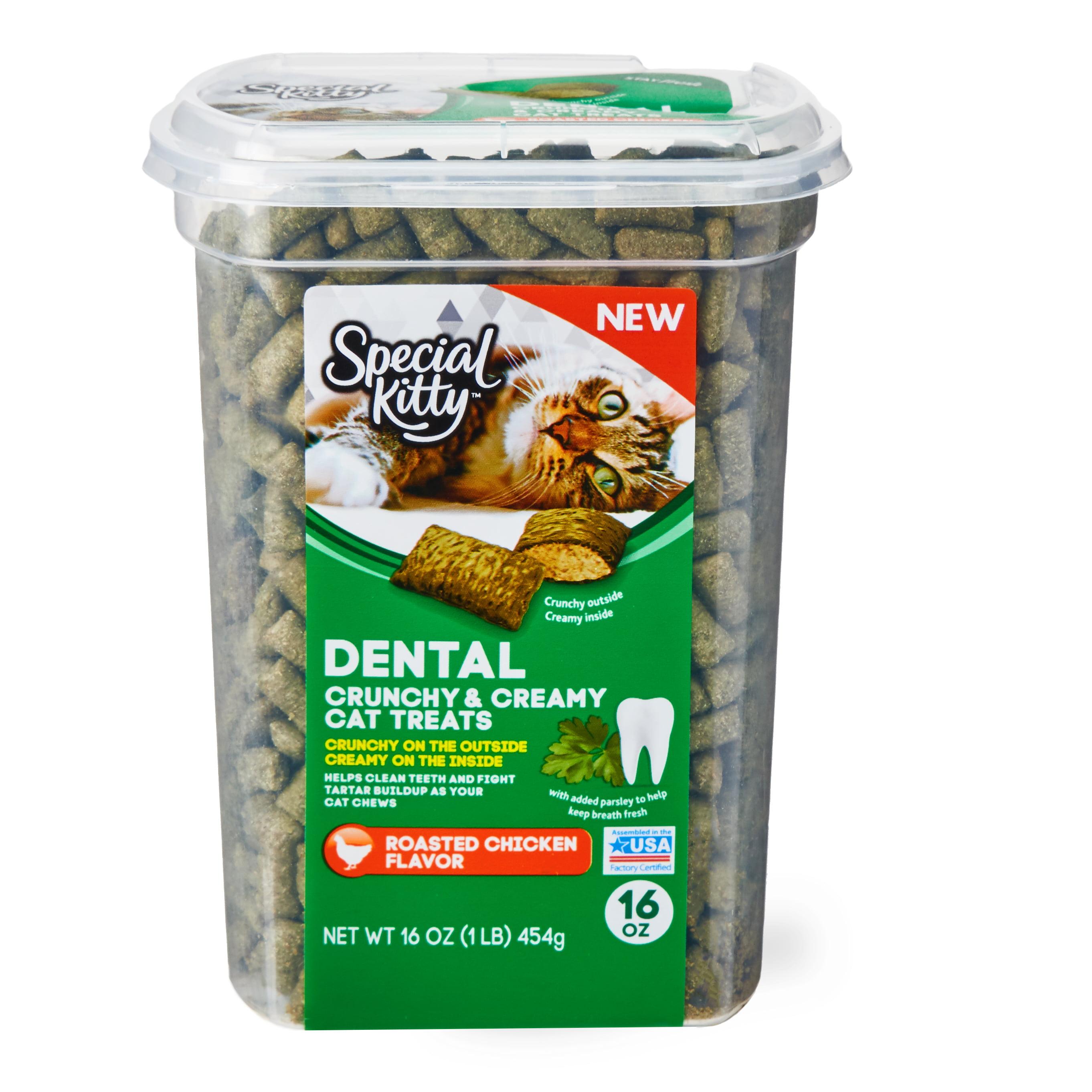 Special Kitty Dental Crunchy & Creamy Cat Treats, Chicken Flavor, 16 oz