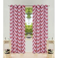 """2 Panel Chevron Burgundy Two-Tone Pattern Design Voile Sheer Window Curtain 8 Silver Grommets 55"""" W X 84"""" LENGTH"""