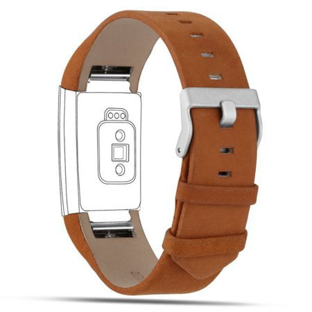 iGK Fitbit Charge 2 Bands Leather Adjustable Replacement Sport Strap Band for Fitbit Charge 2 Heart Rate Fitness Wristband Matte Brown