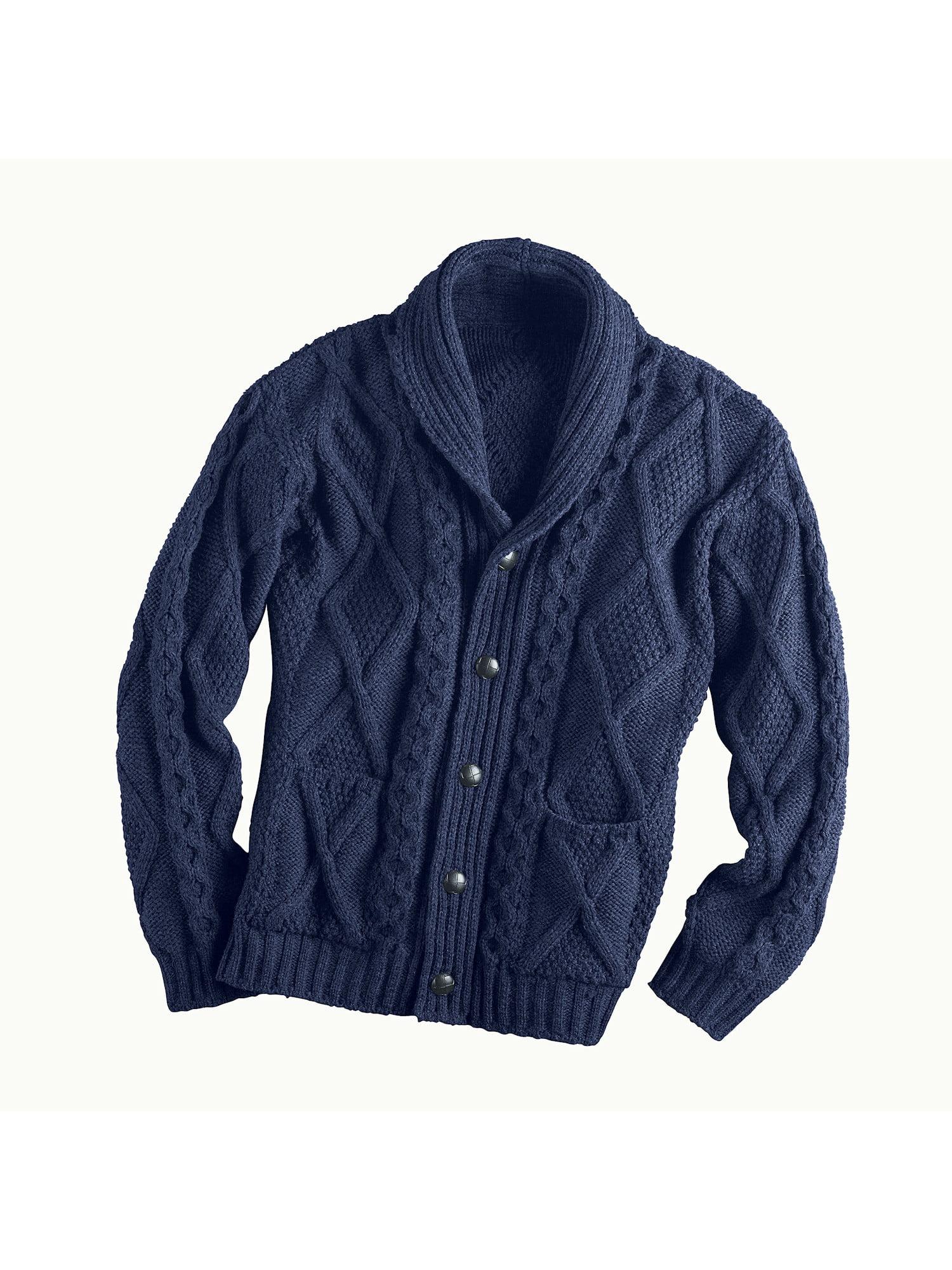 759fefe89 West End Knitwear - Men s Aran Shawl Collar Cable Knit Cardigan ...