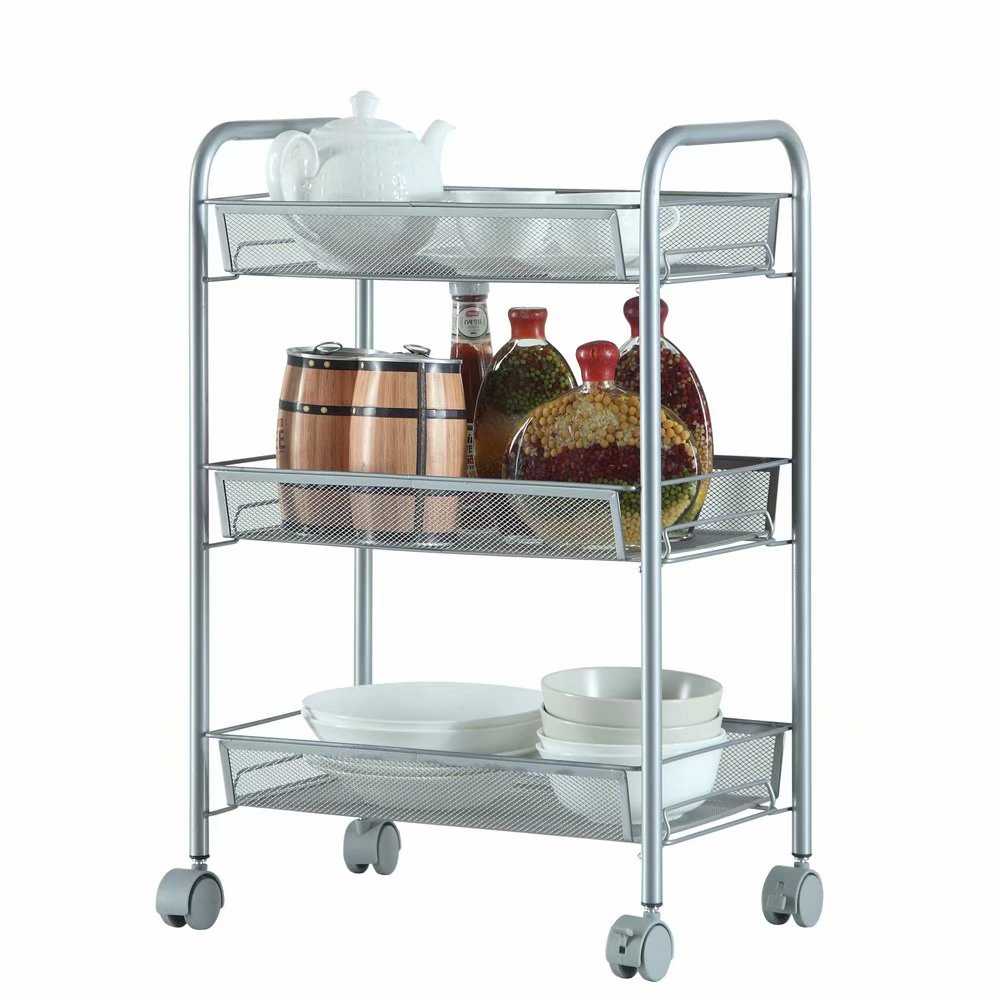 Honeycomb Mesh Style Three Layers Removable Storage Cart Silver