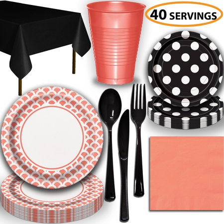 Disposable Tableware, 40 Sets - Coral and Midnight Black - Scallop Dinner Plates, Dotted Dessert Plates, Cups, Lunch Napkins, Cutlery, and Tablecloths:  Party Supplies Set](Halloween Cut And Paste Projects)