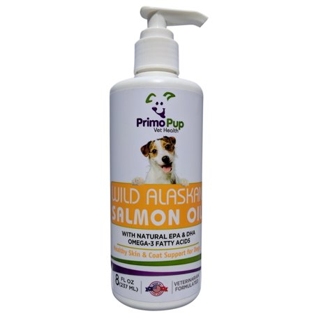 SALMON OIL for Dogs - Primo Pup Vet Health - 100% Pure Wild Caught Alaskan Fish Oil - Promotes Healthy Skin and Shiny Coat - Supports Cardiovascular Health, Central Nervous System & Joints - 8 fl oz