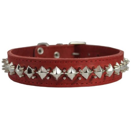 Thick Genuine Leather Spiked Studded Dog Collar Red Sized to Fit 18