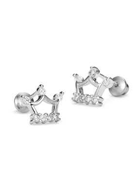 Product Image Sterling Silver Rhodium Plated Princess Crown Cubic Zirconia Screwback Baby Girls Earrings