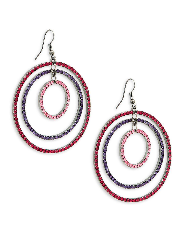 Pavé Three-Hoop Earrings