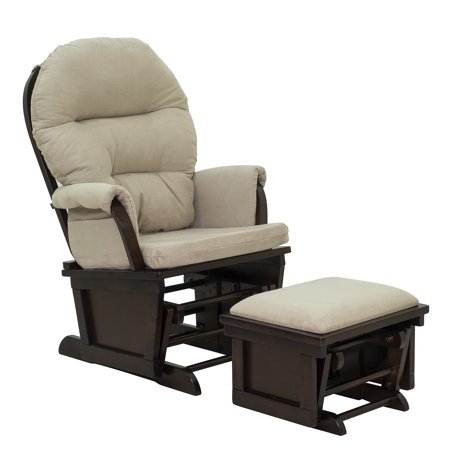 Homcom Nursery Glider Rocking Chair With Ottoman Set Beige Dark Coffee