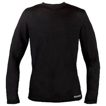 Omni Wool Mens Base Layer Long Sleeve Crew Top (Medium, Black), Dual Layer Performance Merino Wool/Synthetic Thermals By OmniWool