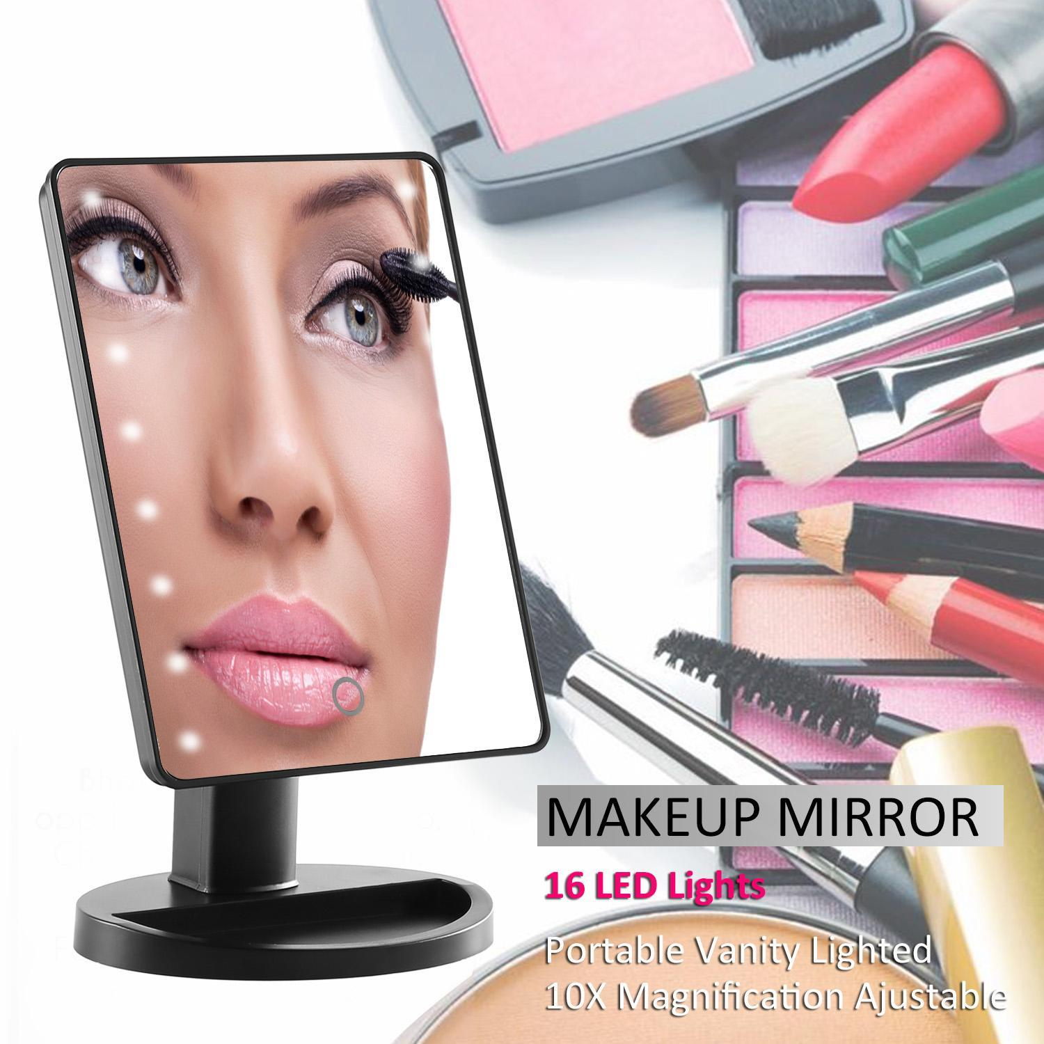 16 Lighted Vanity Mirror With Lights,Tabletop Cosmetic Mirror with Removeable 10x Magnification Mirror OCTAP