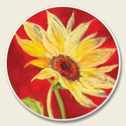 Sunflower on Red Auto Coaster, Single Coaster for Your Car