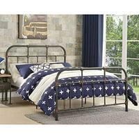 Benzara Industrial Pipe Detailed Metal Full Size Bed, Sandy Gray
