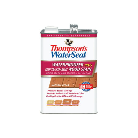 Thompson's Waterseal Waterproofing Stain Semi-Transparent, Natural Cedar, (Best Wood Stain And Sealer)