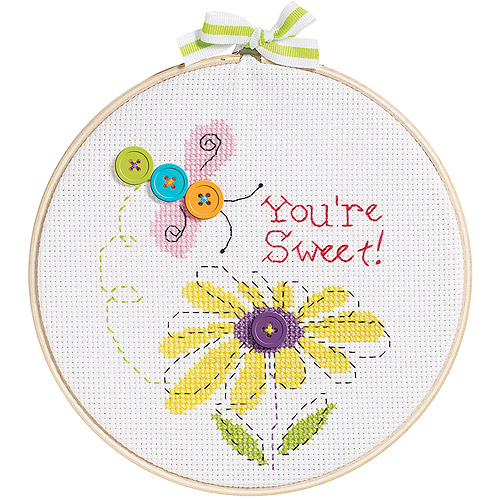 "My 1st Stitch You're Sweet Mini Counted Cross Stitch Kit, 6"" Round, 14-Count"