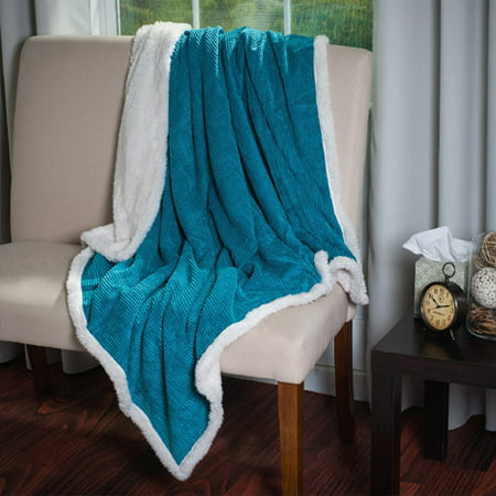 Somerset Home Plush Corduroy Sherpa Throw Blanket   Blue