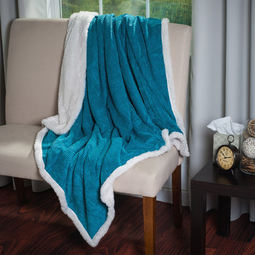 Somerset Home Plush Corduroy Sherpa Throw Blanket - Blue