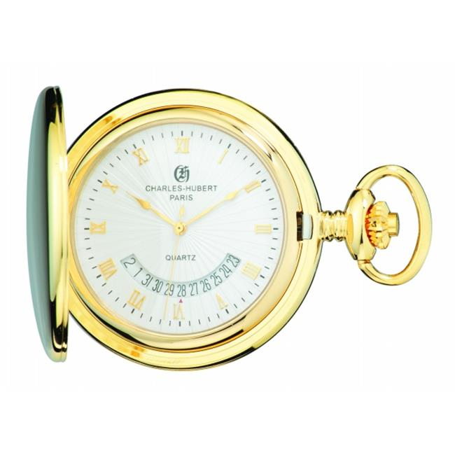 Charles-Hubert Paris 3900-G Gold-Plated Brass Hunter Case Quartz Pocket Watch
