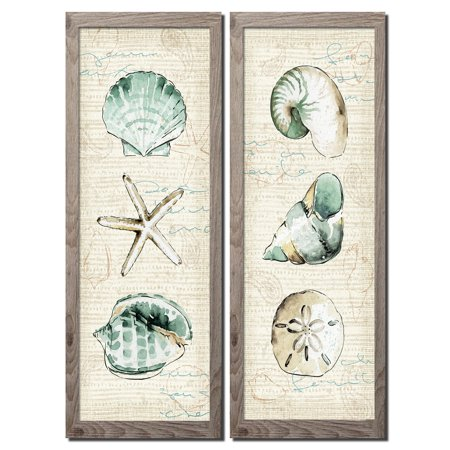 Beautiful Spa Shells; Conch, Starfish, Sand Dollar and Unicorn Shell by Pela Studio; Coastal Décor; Two distressed framed 6x18in Prints; Ready to hang! Tan/Teal