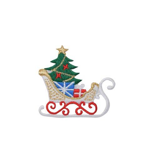 Christmas Sleigh - Tree/Gifts/Presents - Iron on Applique/Embroidered Patch ()