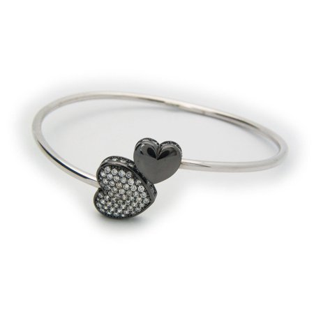 Gunmetal Heart - Sparkling Cz Heart Cuff Bangle in Gunmetal Sterling Silver