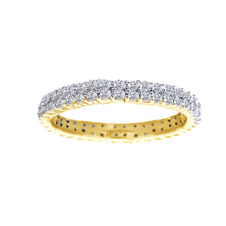 White Cubic Zirconia Engagement & Wedding Full Eternity Band Ring In 14K Yellow Gold Over Sterling Silver (1.88 Cttw)