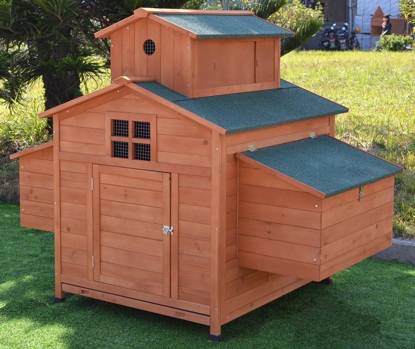Omitree Deluxe Large Wood Chicken Coop Backyard Hen House ...