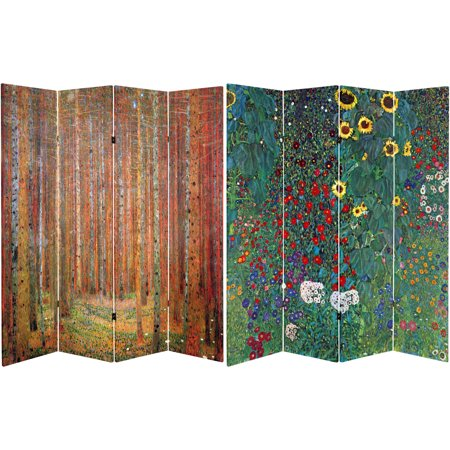 6' Tall Double Sided Works of Klimt Room Divider, Tannenwald/Farm Garden