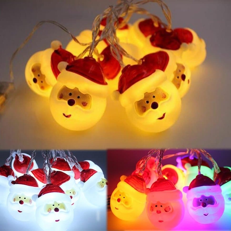 10LED Battery Powered LED String Light Christmas Oldman Head Party Event Light