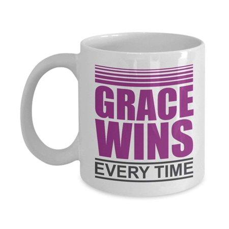 (Grace Wins Every Time Christian Music Inspired Coffee & Tea Gift Mug For Worship Leader & Church Musicians)
