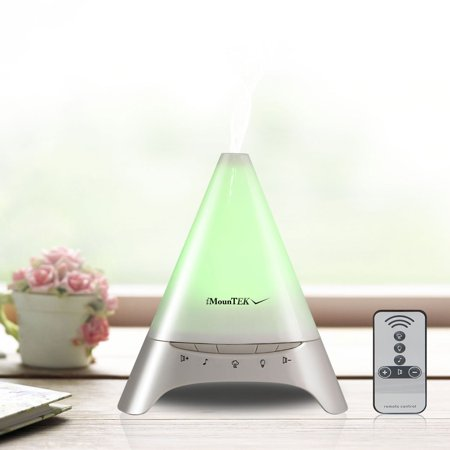 iMounTEK Colorful LED Pyramid Ultrasonic Aroma Diffuser [Remote Control / Soothing Sounds / Color Changing Lights]