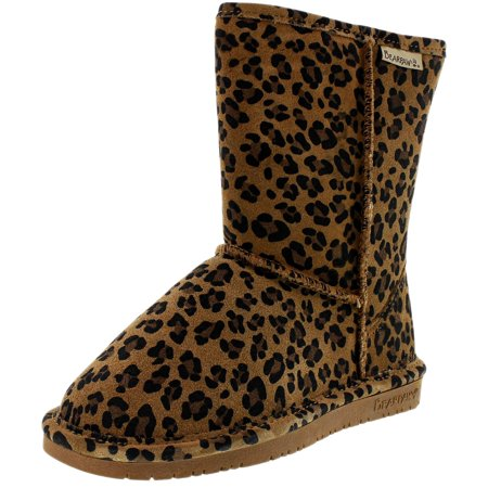 Bearpaw Women's Emma Short Hickory Leopard Ankle-High Suede Boot - 8M