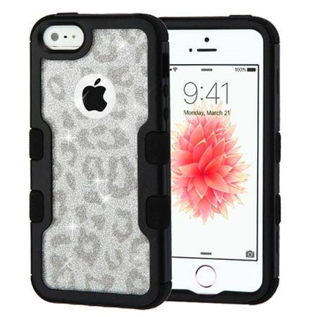 iPhone SE Case, iPhone 5S Case, by Insten Black Frame Full Glitter TUFF Vivid Hybrid Hard PC/TPU Case For Apple iPhone SE / 5 / 5S - Silver/Black Leopard - image 5 of 5