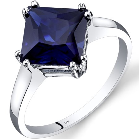 3.25 Carat T.G.W. Princess-Cut Created Blue Sapphire 14kt White Gold Ring Size 7 Blue Sapphire 14kt Gold Ring