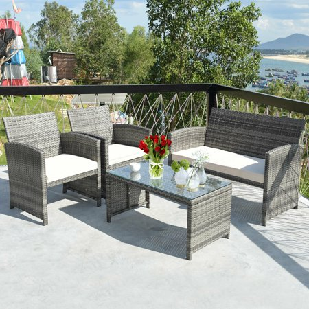 Costway 4 Pc Rattan Patio Furniture Set Garden Sofa with White Cushions Garden Oasis Patio Furniture