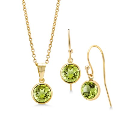 3.00 Ct Round Green Peridot 14K Gold Filled Pendant Earrings Set With Chain Chain Round Wire Earrings