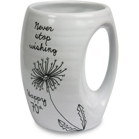 Pavilion Gift Company   Never Stop Wishing   Happy 70Th   Light Gray Ceramic Hand Warmer Mug