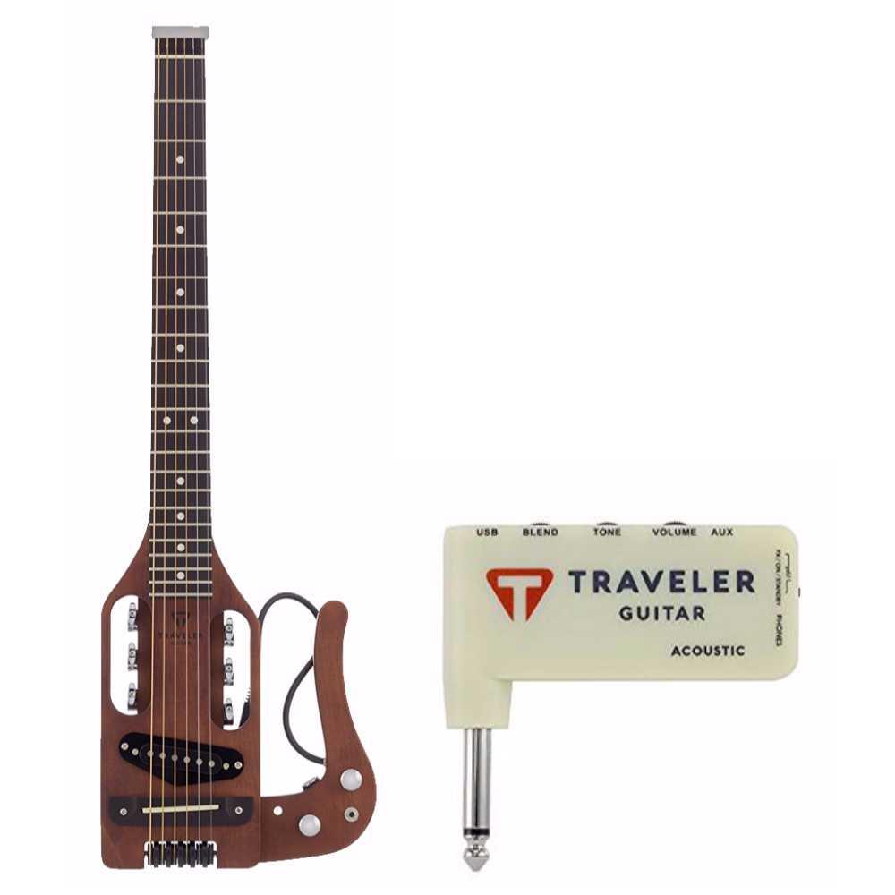 Traveler Guitar Acoustic-Electric Travel Guitar, Gig Bag and Mini Plug In Amp by Traveler Guitar